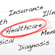 Stock Photo: Healthcare concept illustration over notepad