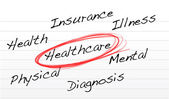 Healthcare concept illustration over a notepad — Stock Photo