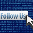Follow us binary design and cursor - Stock Photo