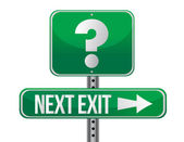 Next exit with question mark illustration design — Stock Photo