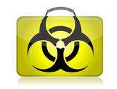 Illustrazione di biohazard pericoloso valigia gialla — Foto Stock