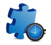 Puzzle piece and blue watch — Stock Photo