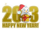 Text sněhulák šťastný nový rok 2013 — Stock fotografie