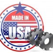 Made in USA and gears stamp illustration - Stok fotoraf