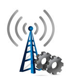 Industrial gears over a wifi tower — Stock Photo
