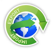 Export and import globe cycle illustration — Stock Photo