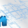 blueprint architectural map and 3d house model — Stock Photo