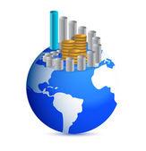 Gráfico de negocios con monedas sobre el globo del mundo — Foto de Stock
