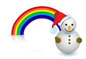 Rainbow snowman illustration design — Stock Photo