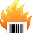 Barcode on fire illustration design — Stock Photo