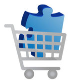 Shopping cart with a puzzle piece design — Stock Photo