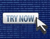 Binary try now button and cursor illustration — Stock Photo