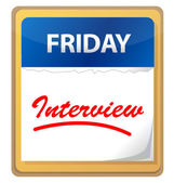 Calendar with an interview planed for friday — Stock Photo