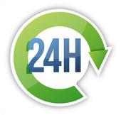 周期 24 小时服务的插图设计 — 图库照片