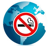 Do not smoke sign illustration design over a globe — Stock Photo