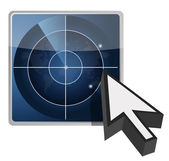 Blue radar button illustration and cursor — Stock Photo