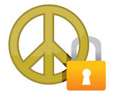 Peace sign with a padlock illustration — Stock Photo