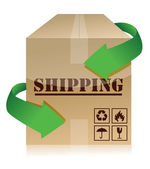 Shipping box with green arrows illustration — Stock Photo