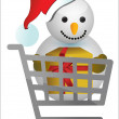 Shopping cart with snowman illustration design — Stock Photo