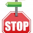 Stock Photo: Stop sign with color arrows