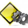 Yellow street sign with gears illustration — Stock Photo