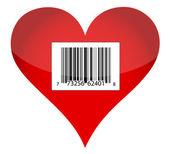 Diseño de ilustración de corazón de código de barras — Foto de Stock