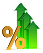 Arrows going up and percentage symbol — Stock Photo