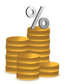 Coins and percentage symbol illustration — Stock Photo
