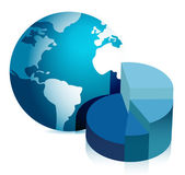 Pie chart and globe illustration design — Stock Photo