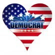 Democrat party usa heart illustration design — Stock Photo