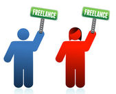 Male and female freelancer signs — Stock Photo