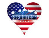 Disegno di illustrazione del cuore partito repubblicano usa — Foto Stock