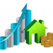 House graph and coins illustration design — Stock Photo