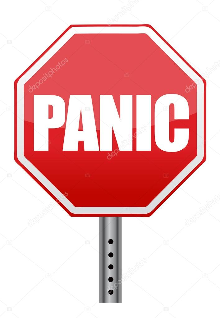 Panic stop sign illustration design over white background — Stock Photo #14029790
