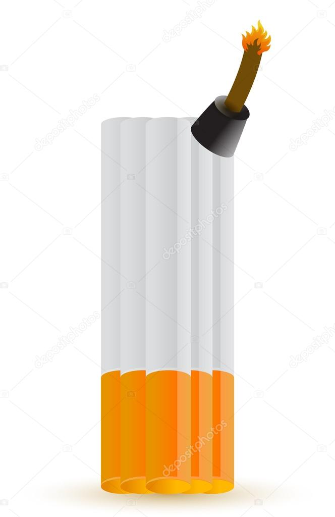 Cigarette bomb illustration design over white background — Foto Stock #14031667