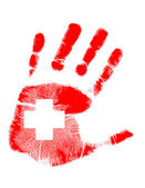 Red handprint with a cross inside — Stock Photo