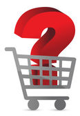 Question mark inside a shopping cart — Stock Photo