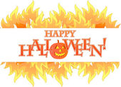 Halloween fire banner illustration design — Photo