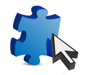 Puzzle piece and a cursor illustration — Stock Photo