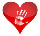 Heart and handprint illustration — Stock Photo