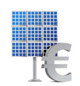 Solar panel and euro sign — Stock Photo