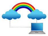 Laptop cloud transferring files illustration — Stock Photo