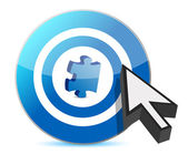 Target puzzle piece and cursor — Stock Photo