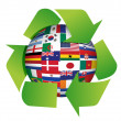 Globe flags recycle illustration - Stock Photo