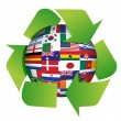 Globe flags recycle illustration — Stock Photo