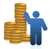 Las monedas y el icono — Foto de Stock