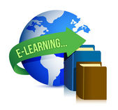 E learning books and globe — Stock Photo