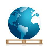 Globe on a pallet — Zdjęcie stockowe