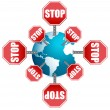 Stop sign around the globe — Stock Photo