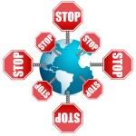Stop sign around the globe — Stock Photo